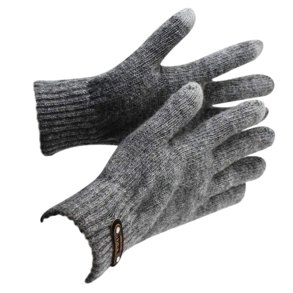 Solid Color Thick Touch Screen Gloves Warm Knitted Wool Lining Texting Gloves for Men