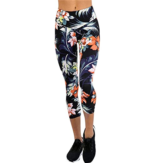 21f067585e25d BSGSH Women's Floral Printed Active Workout Capri Leggings Fitted Stretch Yoga  Pants Tights (M, Blue) at Amazon Women's Clothing store: