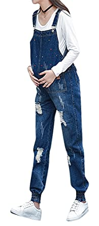 aa0cb9fd911 Hibukk Women Dark Blue Elastic Cuff Distressed Comfy Denim Maternity  Overalls