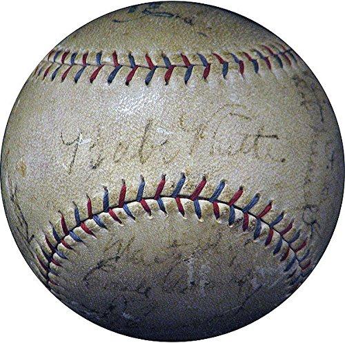 1929 Yankees 19 Babe Ruth, Lou Gehrig Signed Oal Barnard Baseball – JSA Certified
