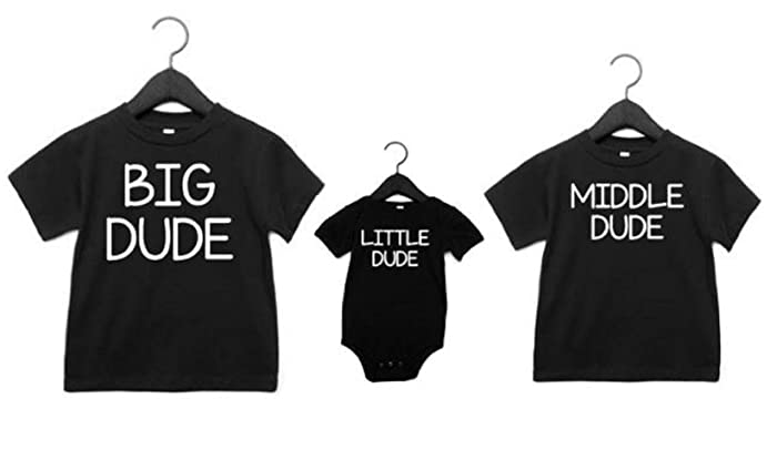 f2789f7d Amazon.com: Sibling Shirts Set of 3 Big Dude Middle Dude Little Dude  Brother Shirts: Handmade
