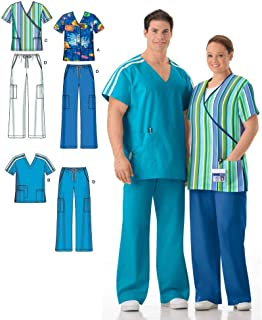 product image for Simplicity Easy To Sew Men and Women's Scrubs Sewing Pattern, Sizes XL-XXXL.