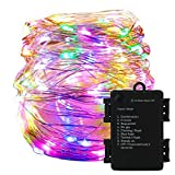 YMing Waterproof 19.68FT LED Copper Wire Lights with 8 Functions Modes, Timer Battery Box Included, Low Voltage Fairy Starry String Lights, Decorative Rope Lights for Christmas, Halloween, Party, Wedding, Festival (Colorful)