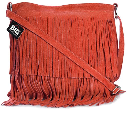 BHBS Bolso de Noche para Dama en Cuero Gamuzado con Flecos en el Frente 32x26 cm (LxA) Rojo (LL478)