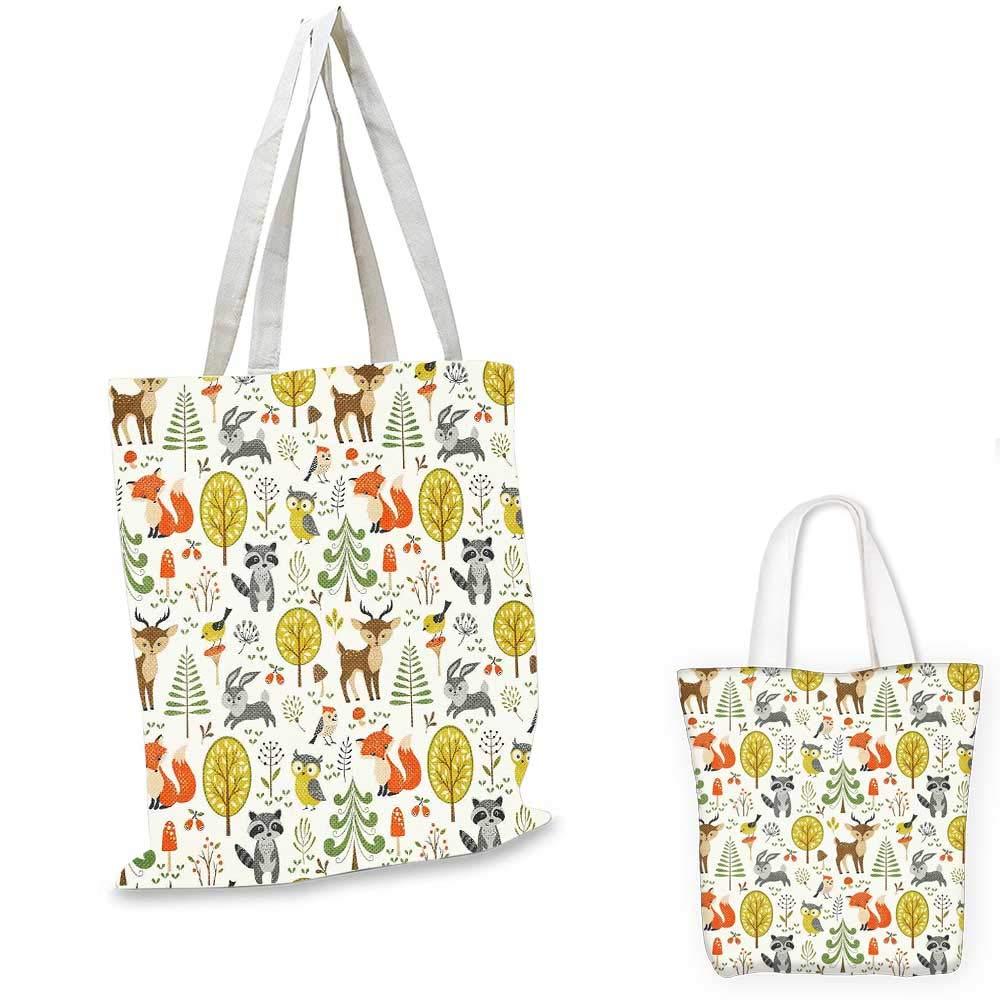 Kids canvas messenger bag Woodland Forest Animals Trees Birds Owls Fox Bunny Deer Raccoon Mushroom Home and canvas beach bag 12x15-10