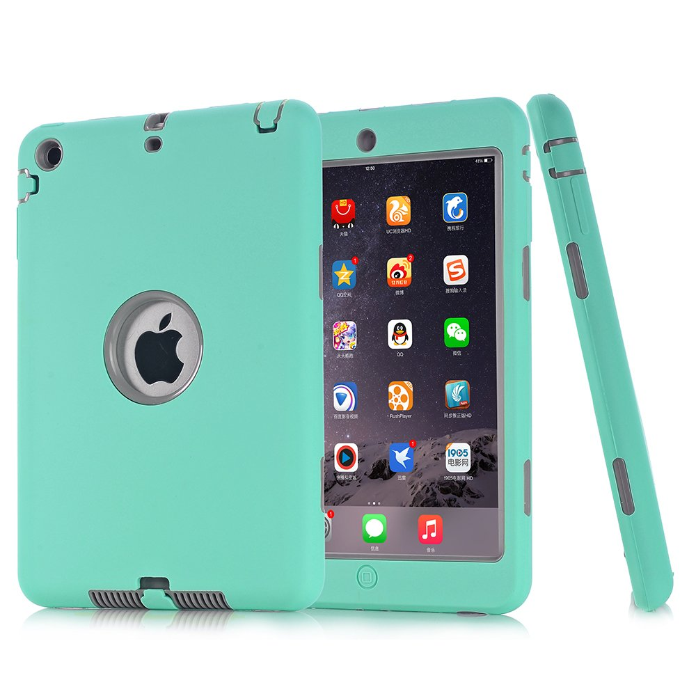 iPad Mini 1/2/3 Case, SURBUID with Cell Phone Stand Heavy Duty Protection Shock Absorbing High Impact Silicone Rubber Bumper+Hard Plastic Shell Hybrid Dual Layer Armor Protective Case (Mint)