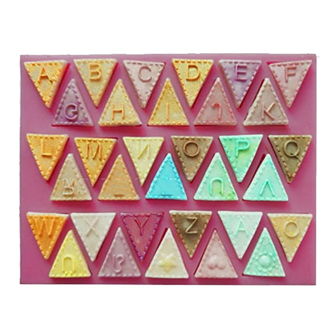 Moldes para banderines de letra, fondant, molde de silicona, color al azar DIY: Amazon.es: Hogar