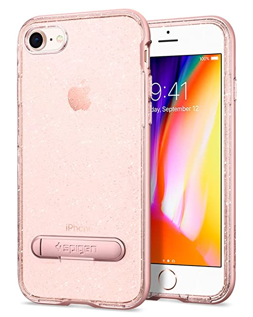 reputable site f0d96 8fbb8 Spigen Crystal Hybrid Glitter iPhone 7 / iPhone 8 Case with Flexible Inner  Casing and Reinforced Hard Bumper Frame for Apple iPhone 7 (2016) / iPhone  ...
