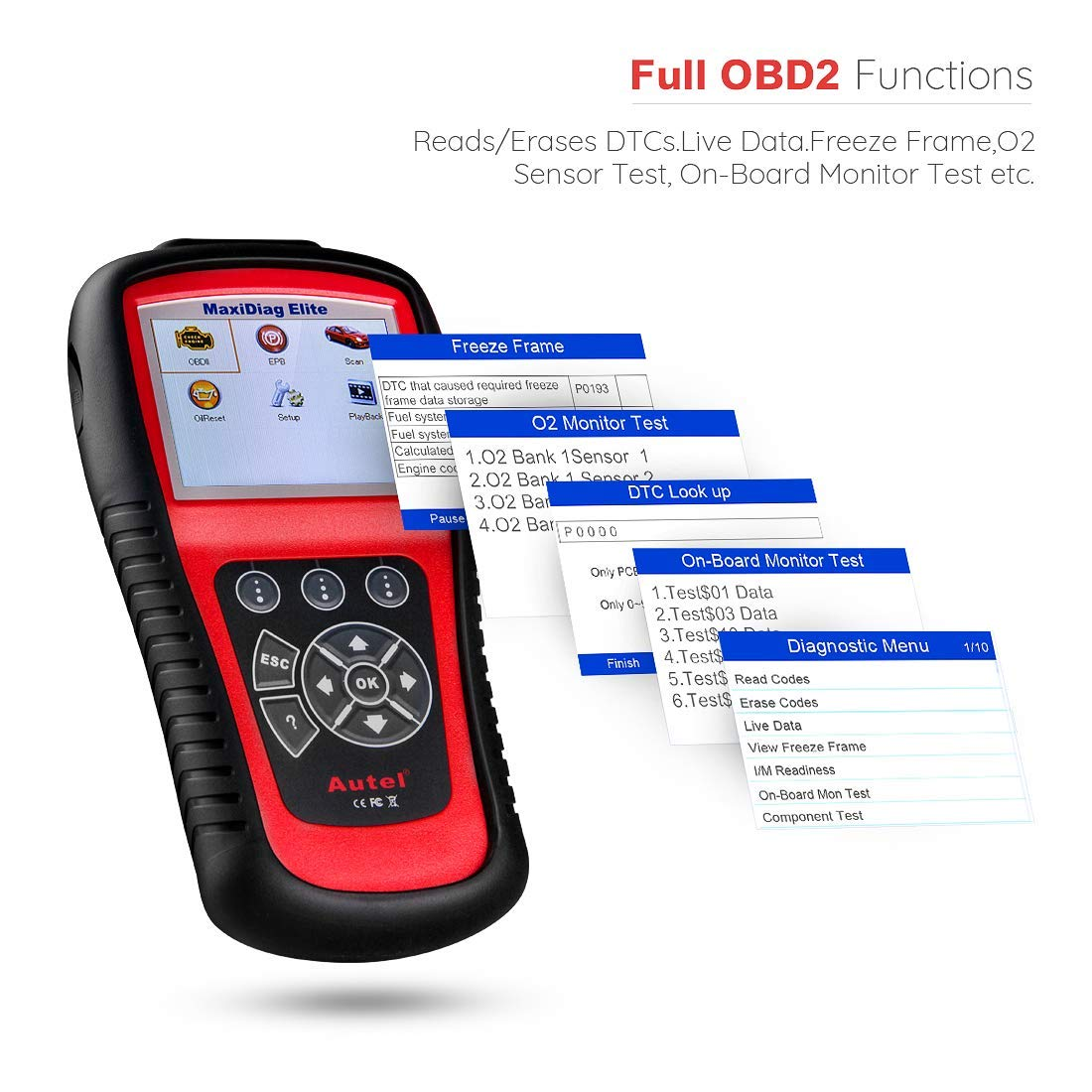Autel Scanner MD802 Maxidiag Elite Diagnoses for ABS, Engine, Transmission, Airbag, EPB, Oil Service Reset Code Reader OBD2 Diagnostic Tool by Autel (Image #5)