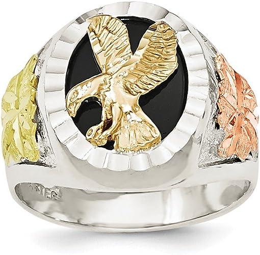 Sterling Silver /& 12k Antiqued Eagle Mens Ring