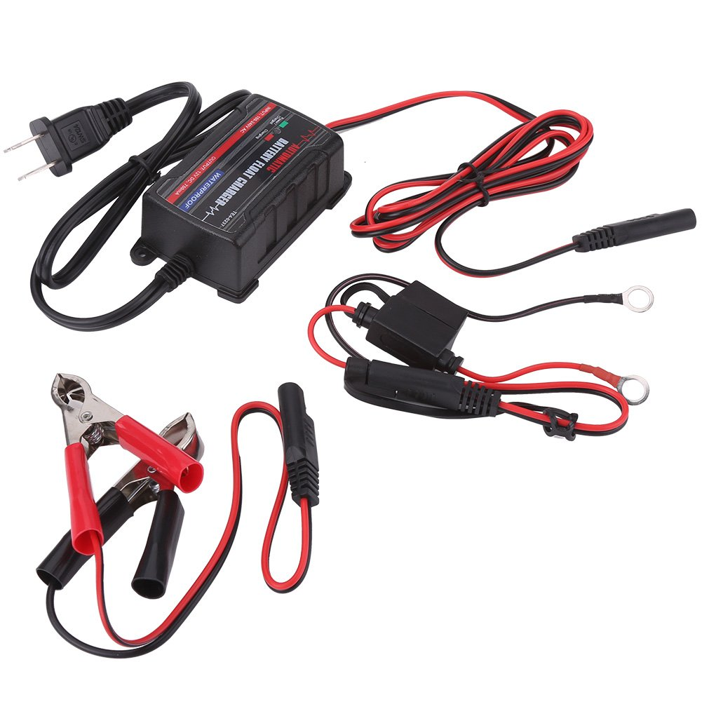 Battery Charger, 0.75A 6V 12V Automatic Battery Trickle Charger Maintainer for Car Motor ATV RV (American Plug)
