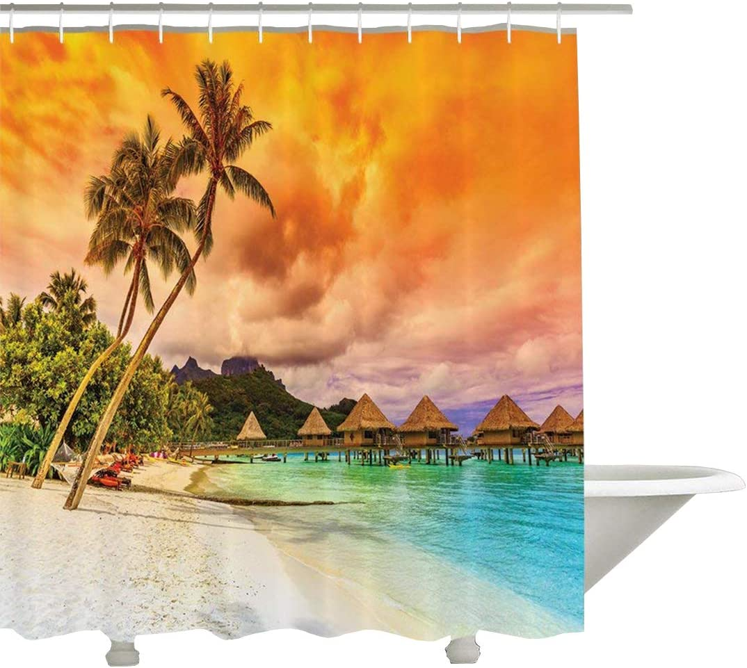 Mountain Beach Palm Trees and Sunset Romantic View Picture Burnt Orange 60x72 Polyester Fabric Bathroom Shower Curtain Set with Hooks Yeuss Wooden Bridge Decor Collection