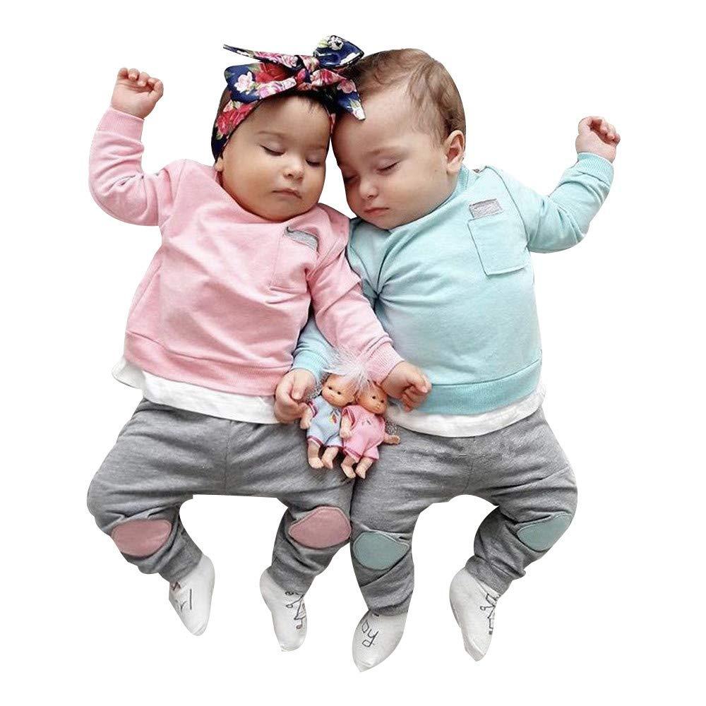 2pcs Age Autumn Newborn Infant Baby Boy Girl Jumper Set T Shirt Top Pants Sweatshirt Outfits Clothes