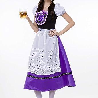 URSING Damska Trachtenkleid 3tlg. Dirndl Schulterfrei Kleid Dirndlkleid Blumen Spitzen Midikleid inkl.Kleid, Bluse, Schürze für Frauen Trachtenkarneval Bayerisches Oktoberfest: Odzież