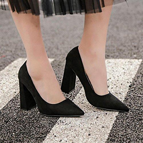 Talon Femme Hiver BLACK Talon orteil LvYuan Printemps Décontracté Robe sandales Bureau Chunky amp; 36 Automne Pointe Carrière mxx g5wxCqRnA