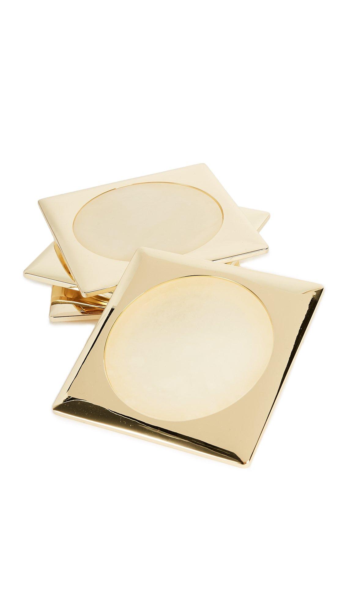 Gift Boutique Women's Circulo Set of 4 Coasters, Bianco Venato, One Size