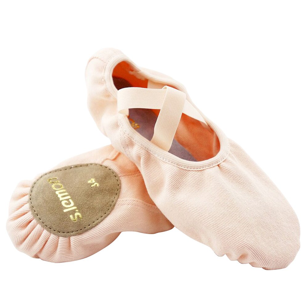 High Elasticated Pink Canvas Ballet Dance Shoes Slippers for Girls Kids Toddlers (13M US Little Kid/31 EU/Foot Length 18.5cm)