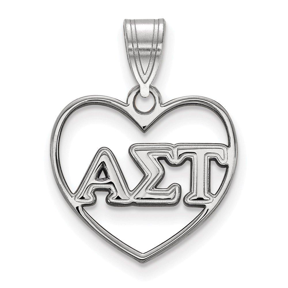 Sterling Silver Sterling Silver Rh-plated LogoArt Alpha Sigma Tau Heart Pendant