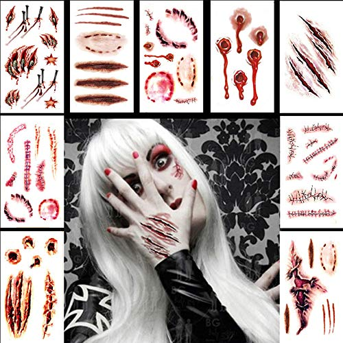 (Halloween Temporary Scar Tattoos Sticker, 11 Sheets Realistic Fake Bloody Wound Scab Horror Body Face Decals for Costume Makeup Masquerade Cosplay Party)