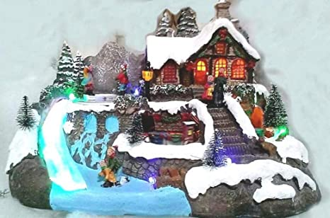 Immagini Natale Movimento.Cart One Villaggio Luminoso Natale Con Movimento Carillon Luci E
