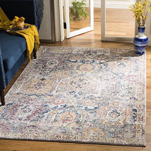 Safavieh Bristol Collection BTL347A Grey and Blue Vintage Distressed Polyester Area Rug 4 x 6