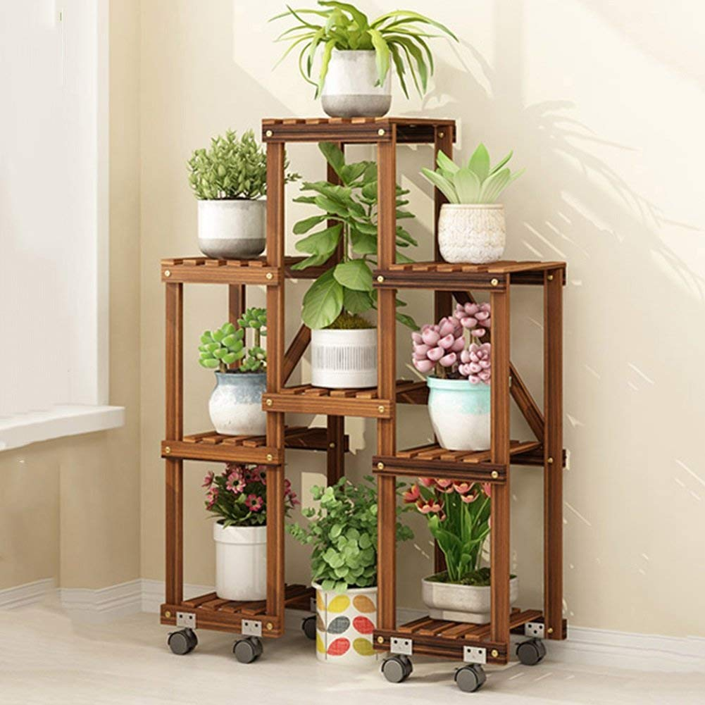 B White Shelves Organizer for Books Bookcase Bookshelf Ends Flower Stand Wooden Multi-Layer Floor-Standing Indoor and Outdoor Balcony Living Room Patio Plant Stand Pot Rack Shelf Strong Sturdy, QiXian