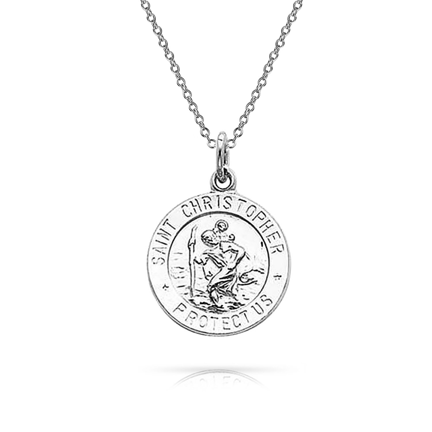 Engravable St Christopher Protect Us Medallion Religious Pendant Sterling Silver Necklace 18 Inches