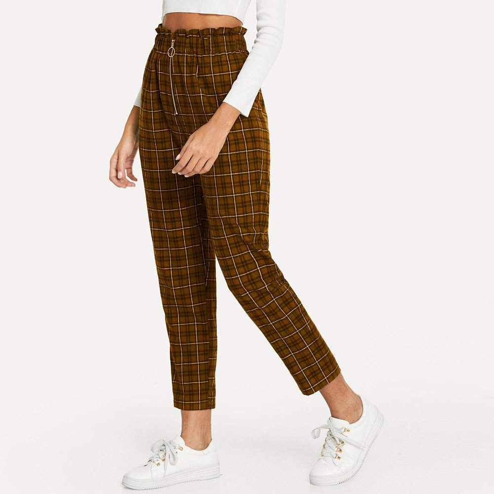 6ccd45c09c Leoy88 Womens Elastic Waist Casual Pants Shein Exposed Zip Fly Plaid Peg  Pants at Amazon Women's Clothing store: