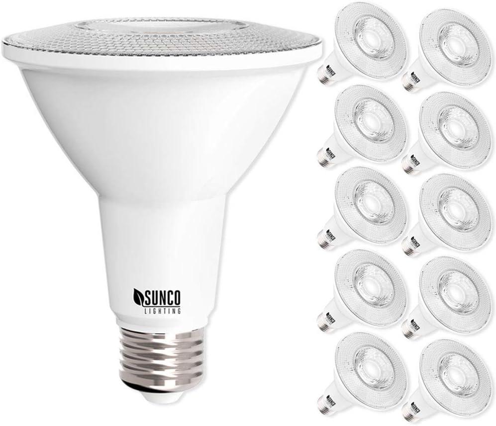 Sunco Lighting 10 Pack PAR30 LED Bulb, 11W=75W, Dimmable, 3000K Warm White, 850 LM, E26 Base, Flood Light, Indoor/Outdoor - UL & Energy Star