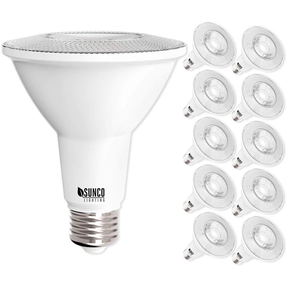 Sunco Lighting 10 Pack PAR30 LED Bulb, 11W=75W, Dimmable, 5000K Daylight, 850 LM, E26 Base, Flood Light, Indoor/Outdoor - UL & Energy Star