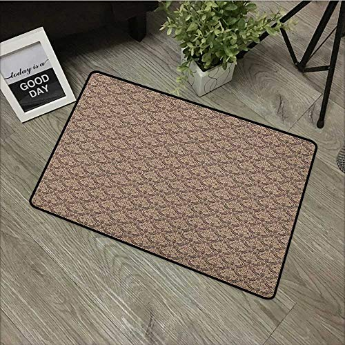 (Interior mat W35 x L47 INCH Antique,Venetian Vintage Flowers with Swirling Lines Renaissance Revival Curvy Tile, Brown and Cocoa with Non-Slip Backing Door Mat Carpet)