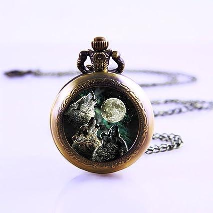 Howling Wolf collar de reloj de bolsillo. Luna arte colgante joyas reloj de bolsillo.