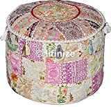 Home Decorative Ottoman Pouf Cover Traditional Living Room Foot Stool Handmade Floor Pillow Chair Vintage Cotton Cushion Covers Embroidered Patchwork, Cushion Ottoman Pouf,Indian Designs Ethnic Patchw