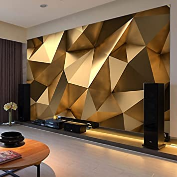 Colomac Wall Mural 3d Stereo Abstract Space Golden Geometry Modern Creative Mural Suitable For Sofa Tv Background Restaurant Bedroom Gallery Wallpaper 157 5 Inch X 118 Inch Amazon Com