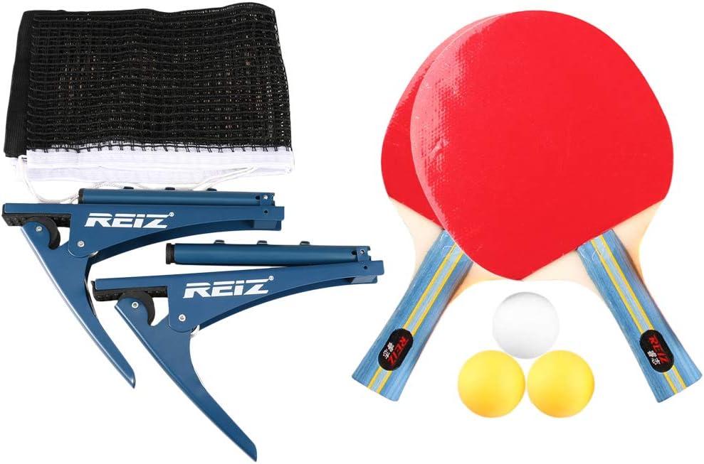 Lixada Juego de Paleta de Ping Pong con Red de Tenis de Mesa para Competencia de Entrenamiento al Aire Libre en Interiores