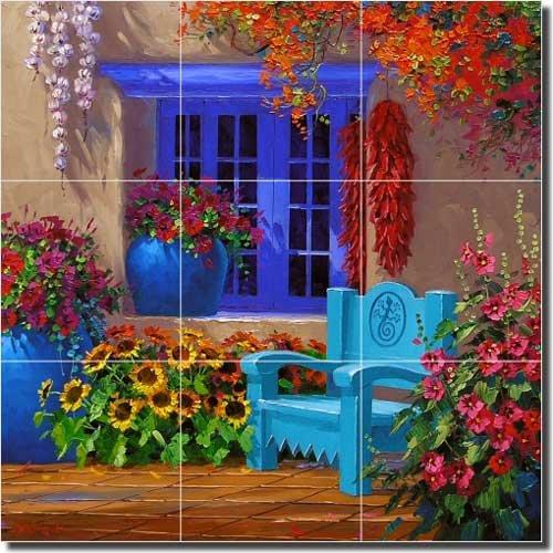 "Price comparison product image Southwest Courtyard Ceramic Tile Mural Backsplash 12.75"" x 12.75"" - A Bit of Spice by Mikki Senkarik"