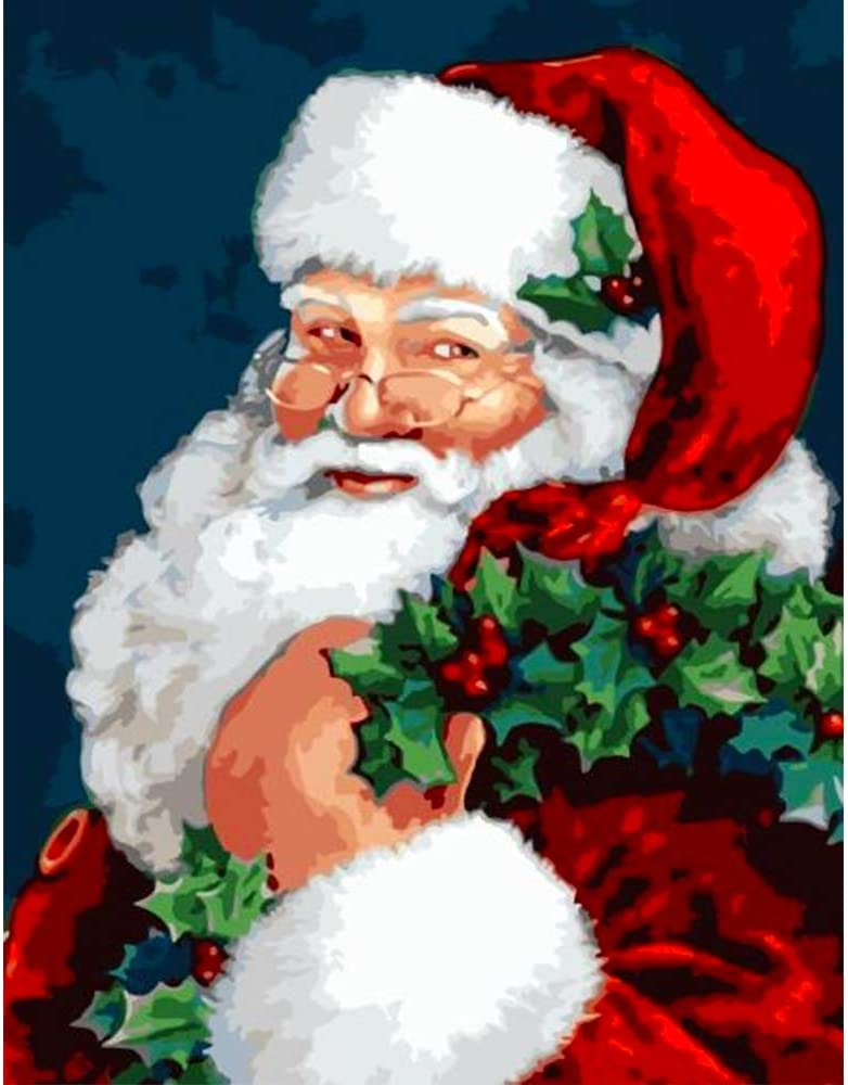 Amazon Com Paint By Numbers For Adults Kids Diy Canvas Painting Kit Beginners Drawing With Brushes Without Frame 16x20 Inch Santa Claus