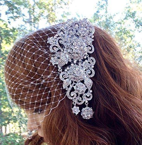 Bridal Veil for Wedding, Bandeau Art Deco Veil
