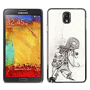 Planetar® ( Pirate Skull Character Sketch Pencil Art ) SAMSUNG Galaxy Note 3 III / N9000 / N9005 Fundas Cover Cubre Hard Case Cover
