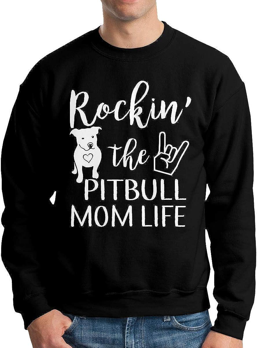 Donald Marjory Pitbull Mom Life Print Mens Powerblend Fleece Pullover Crewneck Sweatshirt