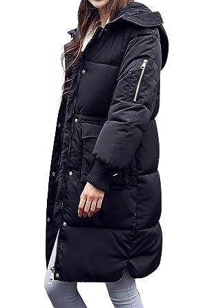 Damen Winter Mantel Parka Jacke Ultra Dicke Langer Stepp Daunen Mantel  Gefüttert mit Kapuze,Schwarz 9784f15c56