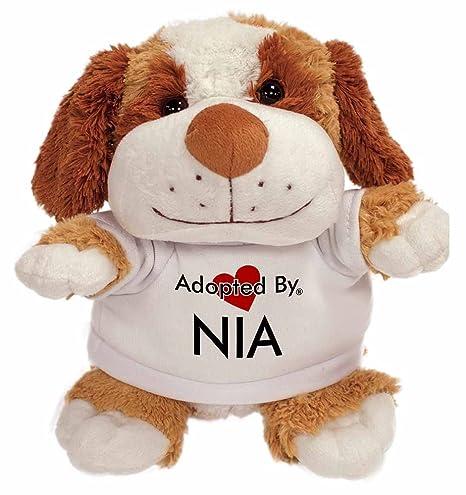 AdoptedBy TB2 Nia - Camiseta con diseño de oso de peluche con nombre impreso