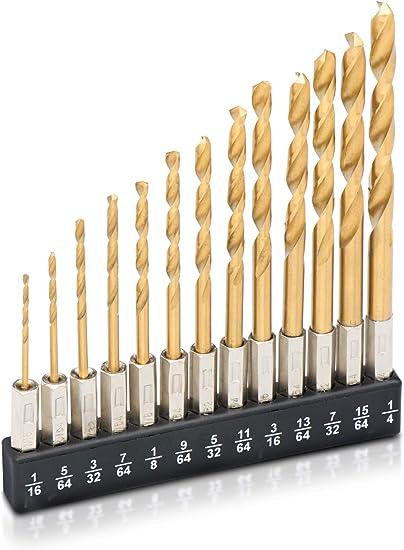 13Pcs High Speed Steel Hss Droit Shank Drill Bits Set Outil avec Étui