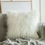 Miulee Decorative Luxury Plush Pillow Cover Mongolian Faux Fur Throw Pillow Case Deluxe Cushion Cover for Sofa Couch Car 24 x 24 inch White