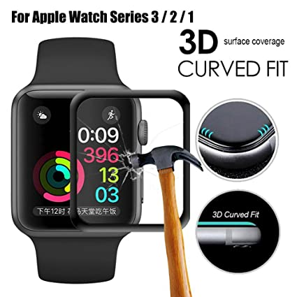 Apple Watch Screen Protector 42mm for Series 3 /2/1 Scratch Resistant Full Coverage Protective Tempered Glass HD Film Glass Bumper Case with 3D Curved ...