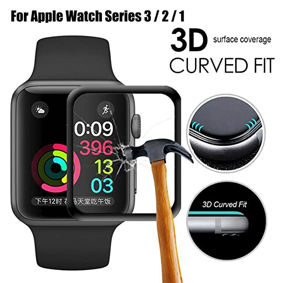 on sale df78d 64ae4 Apple Watch Screen Protector 42mm for Series 3 /2/1 Scratch Resistant Full  Coverage Protective Tempered Glass HD Film Glass Bumper Case with 3D Curved  ...