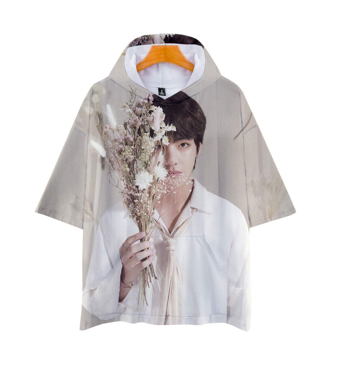 APHT Unisex BTS 3D Hoodie Short Sleeve T-Shirt for Men Women Teen Bangtan Boys Jin Suga J-Hope RM Jimin V Jung Kook Summer Tops Sweater Pullover Jackets