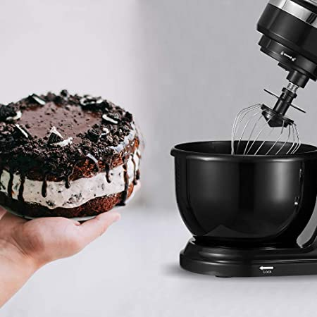 PRIXTON KR100 - Robot Cocina/Batidora Amasadora de Reposteria con Potente Motor de 1000 W, Incluye 3 Accesorios de batido y un Bol de 4L, 6 Velocidades Diferentes + Velocidad Continua, Color Negro: Amazon.es: Hogar