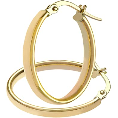 Citerna 9 ct Yellow Gold Oval Dome Tube Fine Hoop Earrings rnJ3H