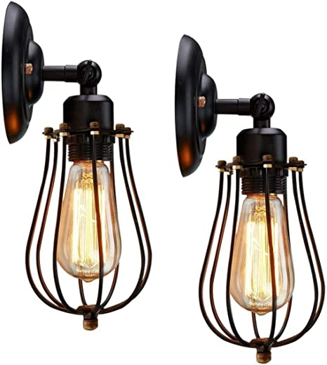 Amazon Com Kingso Rustic Wall Sconces 2 Pack Wire Cage Wall Sconce Black Hardwire Industrial Wall Light Fixture Vintage Style Wall Lamp For Home Decor Headboard Bathroom Bedroom Farmhouse Porch Garage Home Improvement